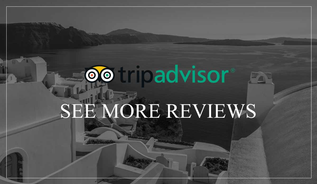 Black and white image of Santorini view, with trip advisor logo